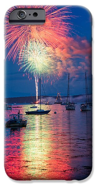 Fireworks Over Boothbay Harbor IPhone Case by Darylann Leonard Photography