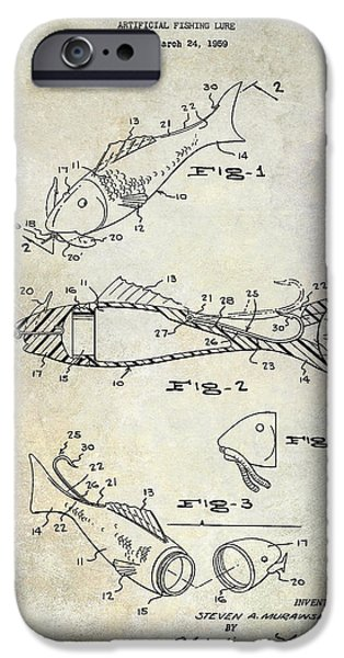 Fishing Lure Patent 1959 IPhone Case by Jon Neidert