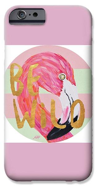 Flamingo On Stripes Round IPhone Case by Julie Derice