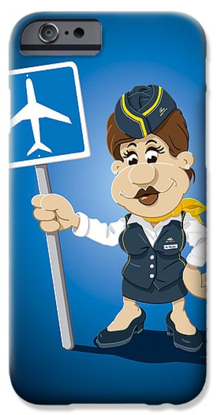Flight Attendant Cartoon Woman Airport Sign IPhone Case by Frank Ramspott