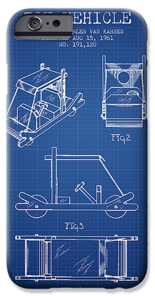 Flintstones Toy Vehicle Patent From 1961 - Blueprint IPhone Case by Aged Pixel