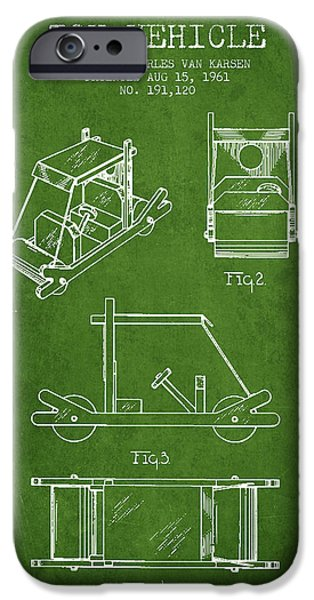 Flintstones Toy Vehicle Patent From 1961 - Green IPhone Case by Aged Pixel
