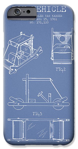 Flintstones Toy Vehicle Patent From 1961 - Light Blue IPhone Case by Aged Pixel