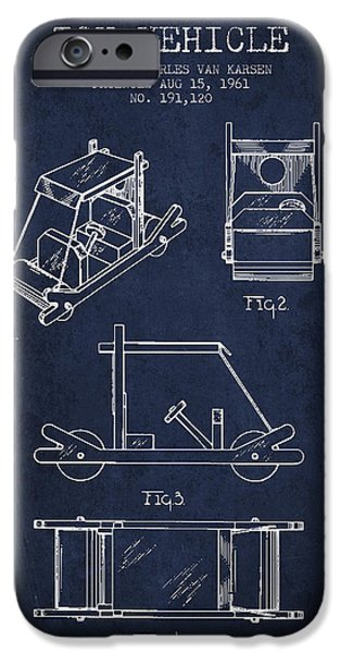 Flintstones Toy Vehicle Patent From 1961 - Navy Blue IPhone Case by Aged Pixel
