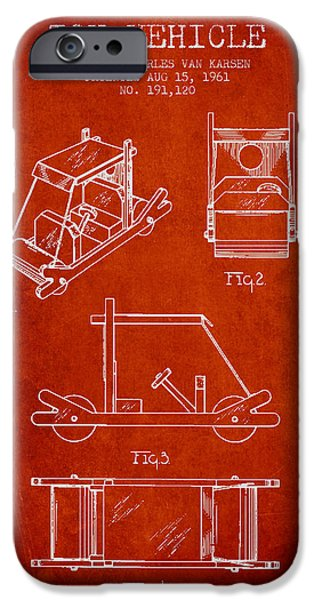 Flintstones Toy Vehicle Patent From 1961 - Red IPhone Case by Aged Pixel