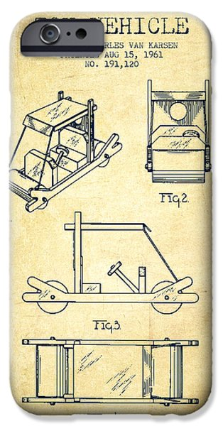 Flintstones Toy Vehicle Patent From 1961 - Vintage IPhone Case by Aged Pixel