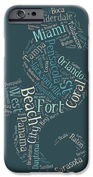 Florida Cities Seahorse IPhone Case by Georgia Fowler
