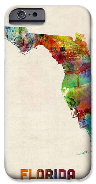 Florida Watercolor Map IPhone Case by Michael Tompsett