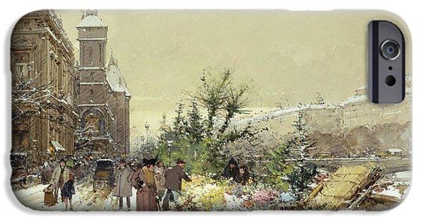 Flower Market Marche Aux Fleurs IPhone Case by Eugene Galien-Laloue