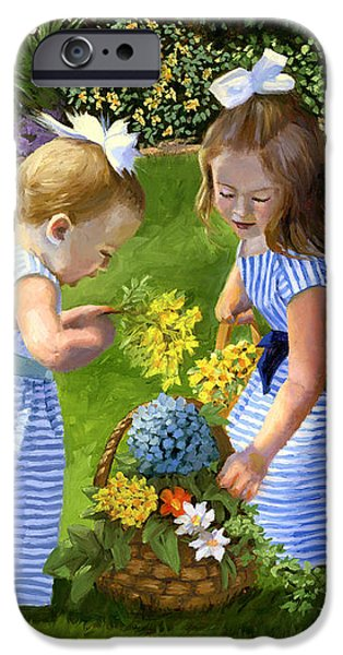 Flowers For Mama With Girls Garden Basket Bouquet IPhone Case by Alice Leggett