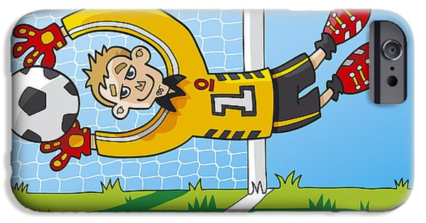 Flying Goalkeeper Catching Ball IPhone Case by Frank Ramspott