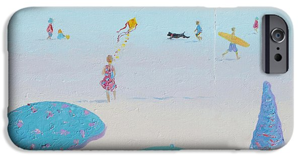 Flying The Kite - Beach Painting IPhone Case by Jan Matson