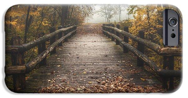Foggy Lake Park Footbridge IPhone Case by Scott Norris