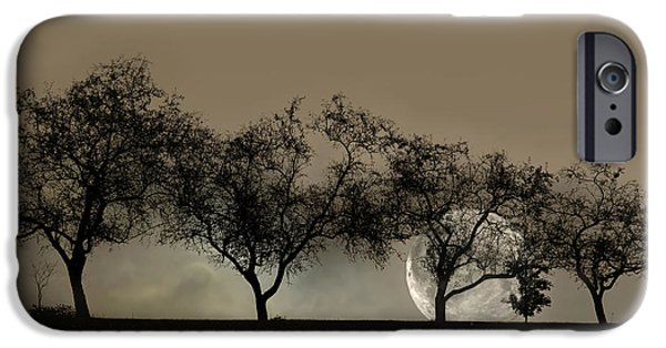 Four Trees And A Moon IPhone Case by Ann Bridges