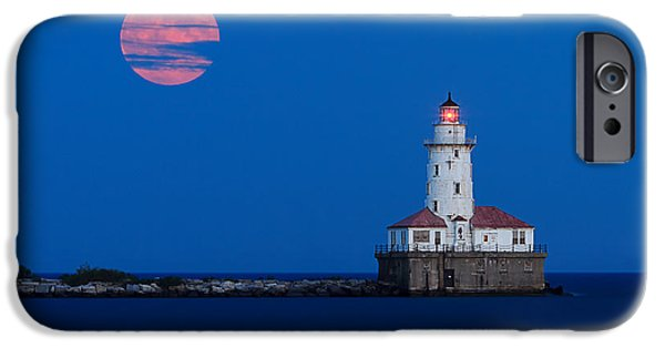 Full Moon Over Chicago Harbor Lighthouse IPhone Case by Katherine Gendreau