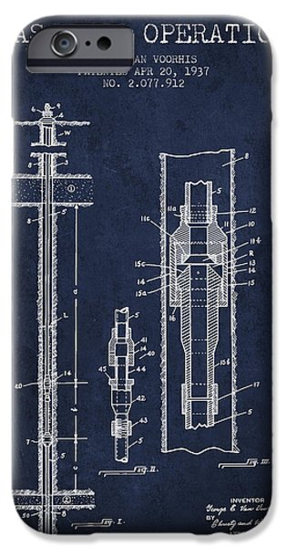 Gas Well Operation Patent From 1937 - Navy Blue IPhone Case by Aged Pixel