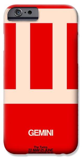Gemini Zodiac Sign White On Red IPhone Case by Naxart Studio