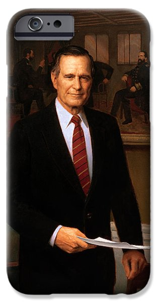 George Hw Bush Presidential Portrait IPhone 6s Case by War Is Hell Store