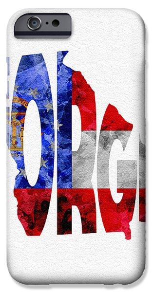 Georgia Typographic Map Flag IPhone 6s Case by Ayse Deniz