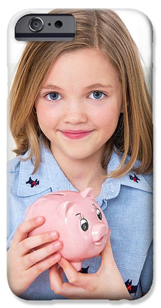 Girl Holding A Piggy Bank IPhone Case by Lea Paterson
