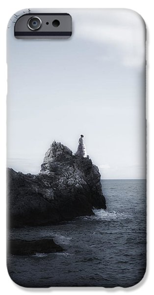 Girl On Cliffs IPhone Case by Joana Kruse