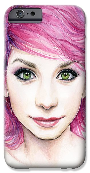 Girl With Magenta Hair IPhone Case by Olga Shvartsur