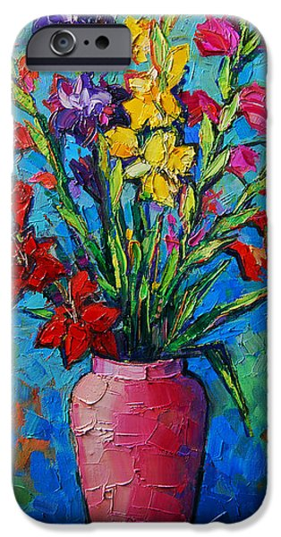 Gladioli In A Vase IPhone Case by Mona Edulesco