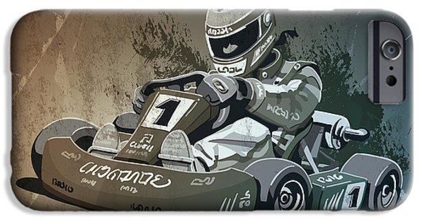 Go-kart Racing Grunge Monochrome IPhone Case by Frank Ramspott