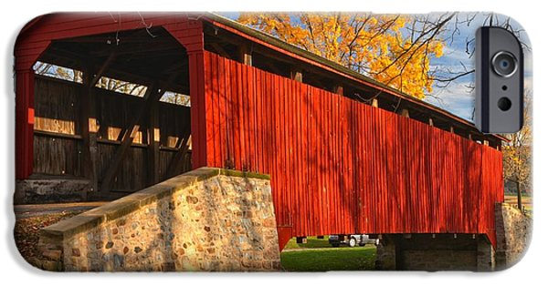 Gold Above The Poole Forge Covered Bridge IPhone Case by Adam Jewell
