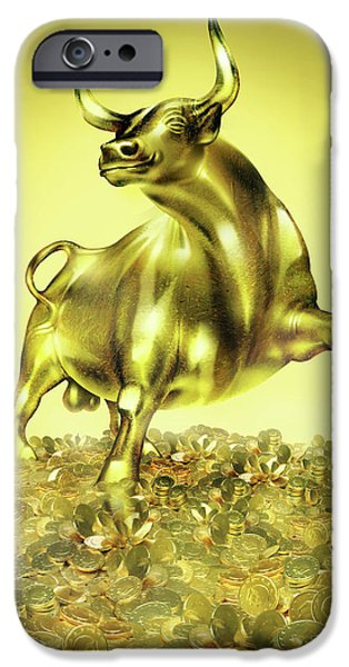 Golden Bull And Euros IPhone Case by Smetek