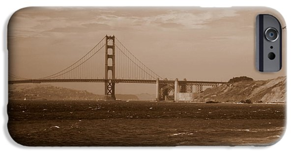 Golden Gate Bridge With Surf Sepia IPhone Case by Carol Groenen