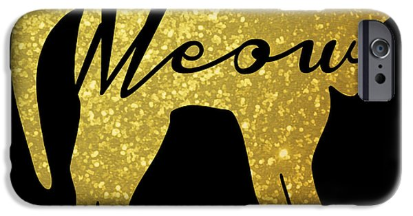 Golden Glitter Cat - Meow IPhone 6s Case by Pati Photography