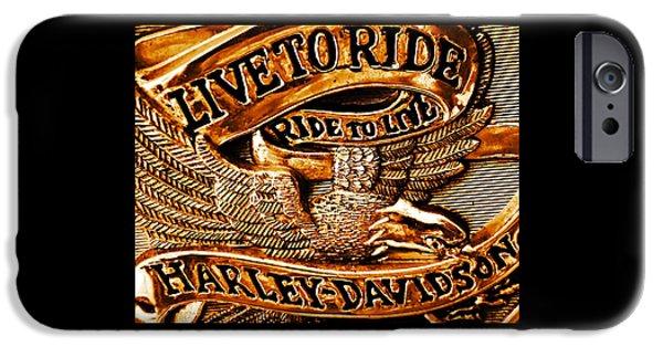 Golden Harley Davidson Logo IPhone Case by Chris Berry