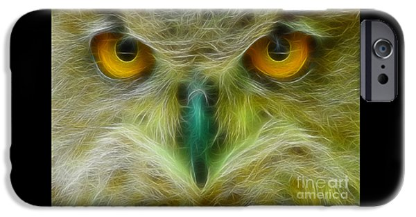 Great Horned Eyes Fractal IPhone Case by Gary Gingrich Galleries