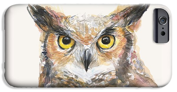 Great Horned Owl Watercolor IPhone 6s Case by Olga Shvartsur