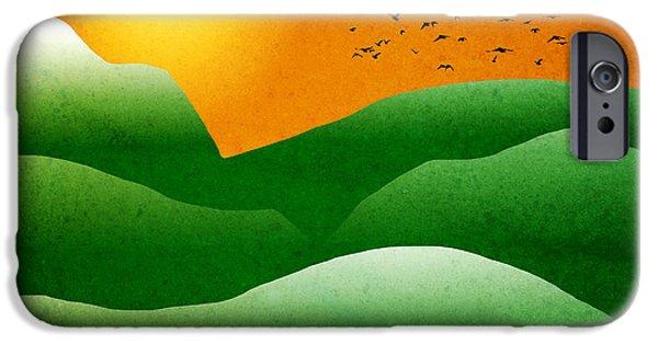 Green Mountain Sunrise Landscape Art IPhone Case by Christina Rollo