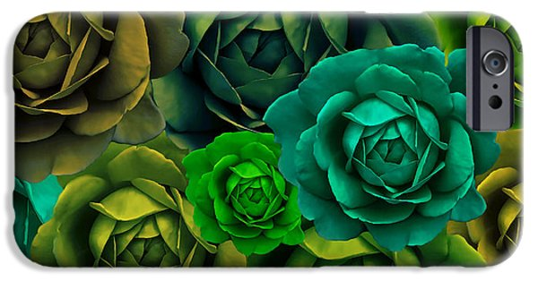 Green With Envy Rose Flower Abstract IPhone Case by Jennie Marie Schell
