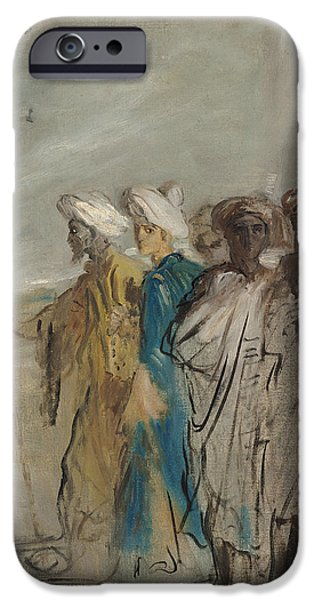Group Of Arabs Or, Joseph Sold By His Brothers Oil On Canvas IPhone Case by Theodore Chasseriau