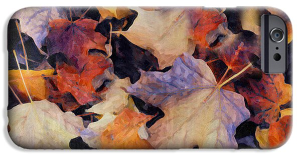 Grungy Autumn Leaves IPhone Case by Georgiana Romanovna