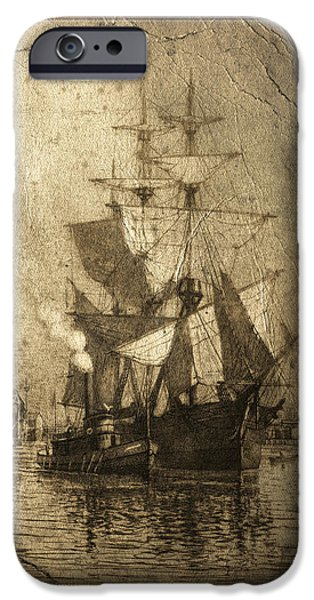 Grungy Historic Seaport Schooner IPhone Case by John Stephens