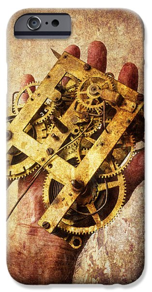 Hand Holding Clock Gears IPhone Case by Garry Gay