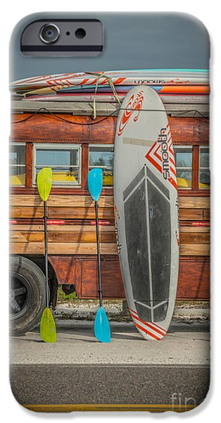 Hang Ten - Vintage Woodie Surf Bus - Florida - Hdr Style IPhone Case by Ian Monk