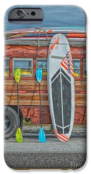 Hang Ten - Vintage Woodie Surf Bus - Florida IPhone Case by Ian Monk