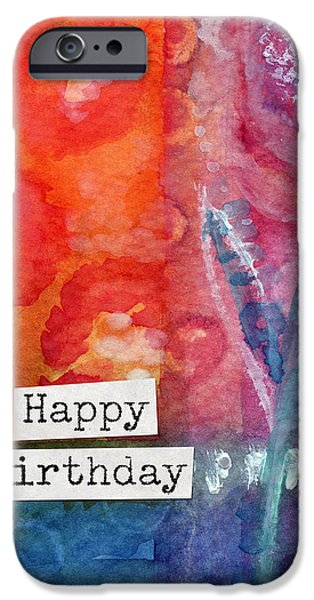 Happy Birthday- Watercolor Floral Card IPhone Case by Linda Woods