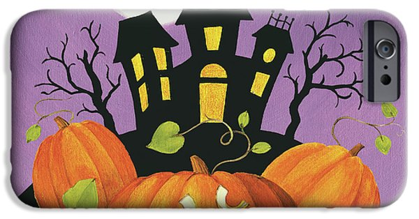 Happy Haunting House On Pumpkins IPhone Case by Lisa Audit