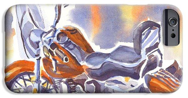 Crimson Motorcycle In Watercolor IPhone Case by Kip DeVore