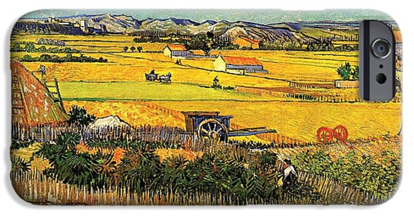 Harvest At La Crau With Montmajour In The Background IPhone Case by Vincent Van Gogh