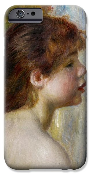 Head Of A Young Woman IPhone Case by Pierre Auguste Renoir