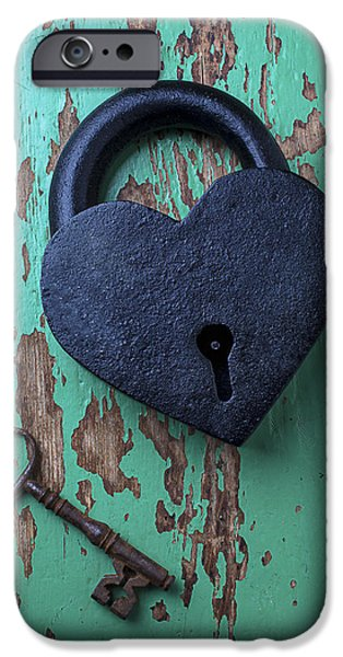 Heart Lock And Key IPhone Case by Garry Gay