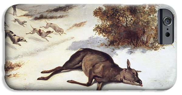 Hind Forced Down In The Snow IPhone Case by Gustave Courbet